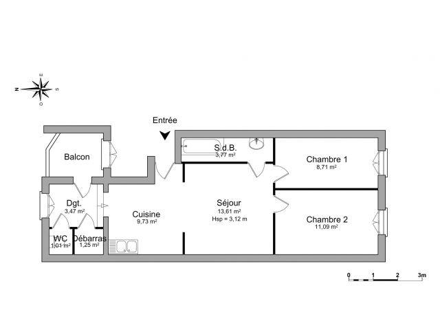 Location appartement 3 pi ces bordeaux 33 foncia for Appartement bordeaux stalingrad